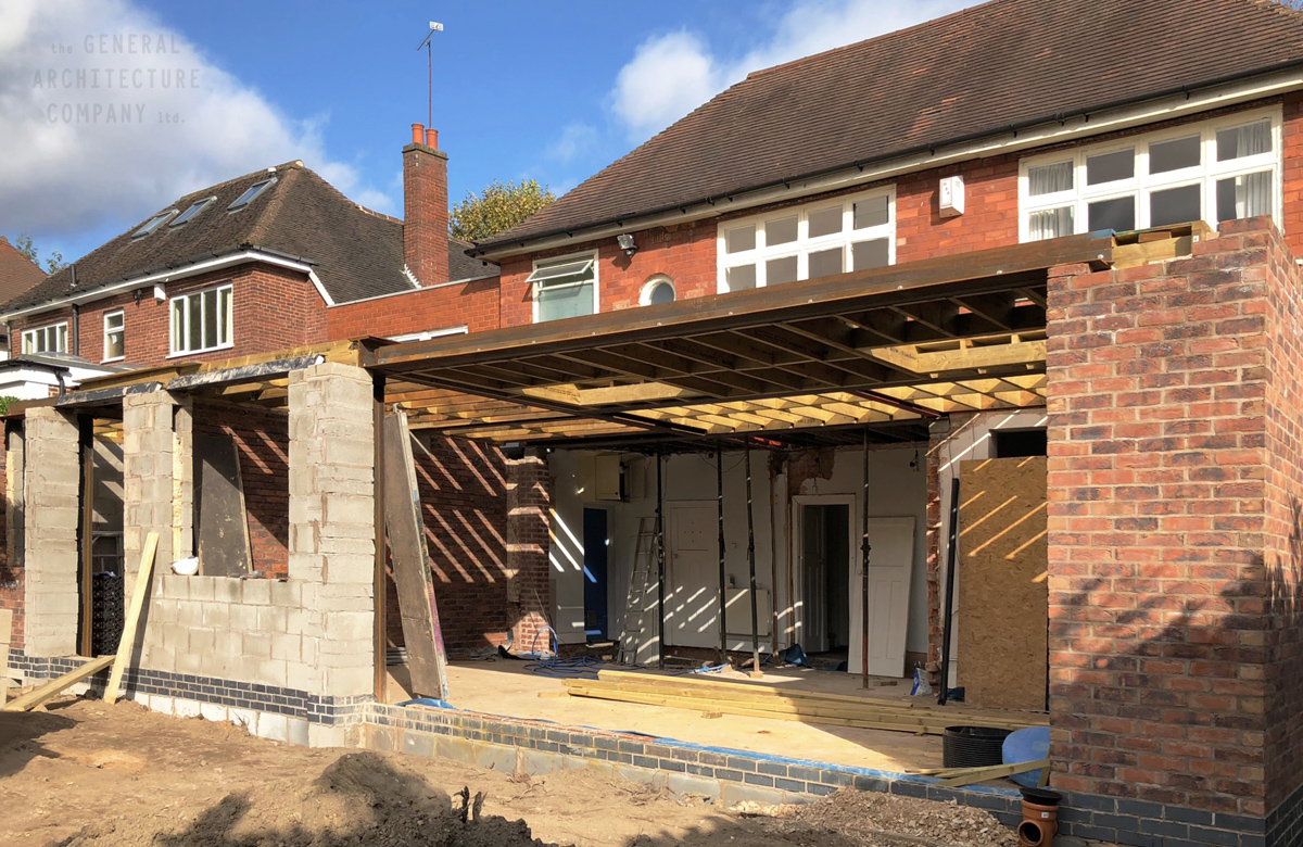 Edgbaston Two Storey Rear Extension On Its Way Up To The First Floor